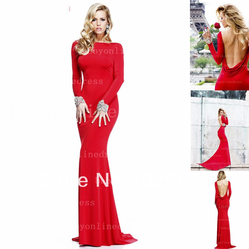 New fashion evening dress high neck long sleeves backless red
