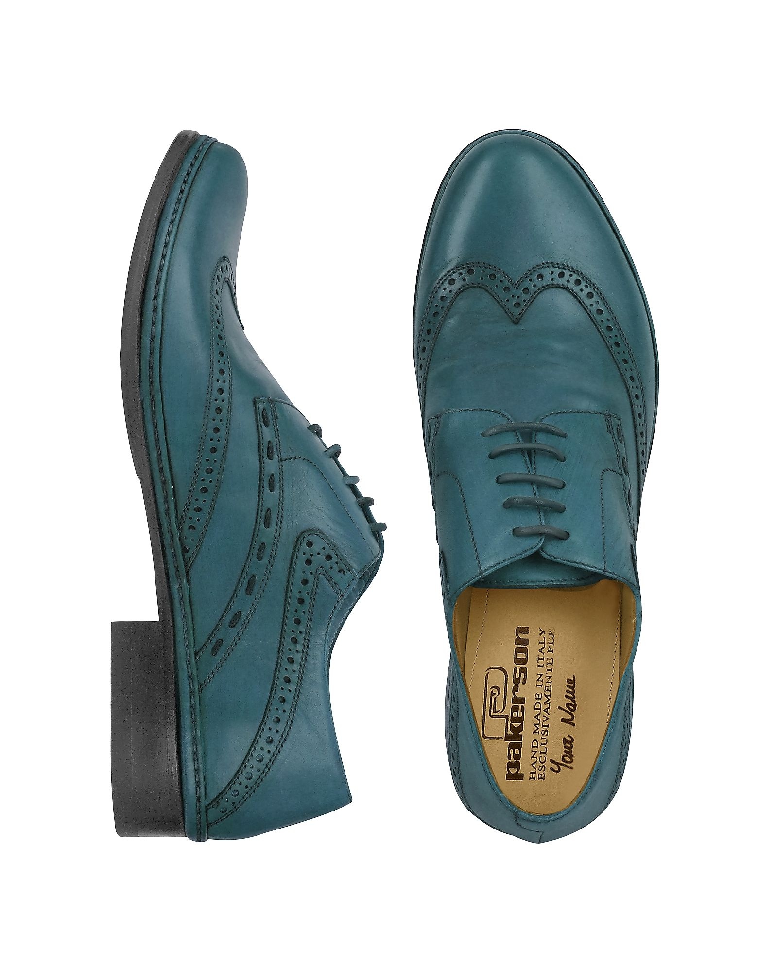 Pakerson Designer Shoes, Dark Handmade Italian Leather Wingtip Oxford Shoes