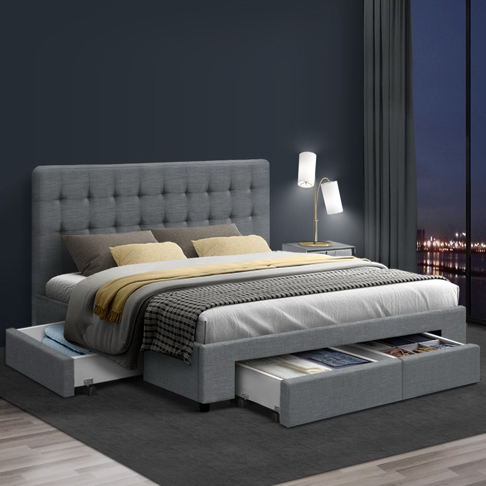 Parsons Grey Double Storage Bed Frame Online Only Matt Blatt In 2020 Fabric Bed Frame King Bed Frame King Size Bed Frame