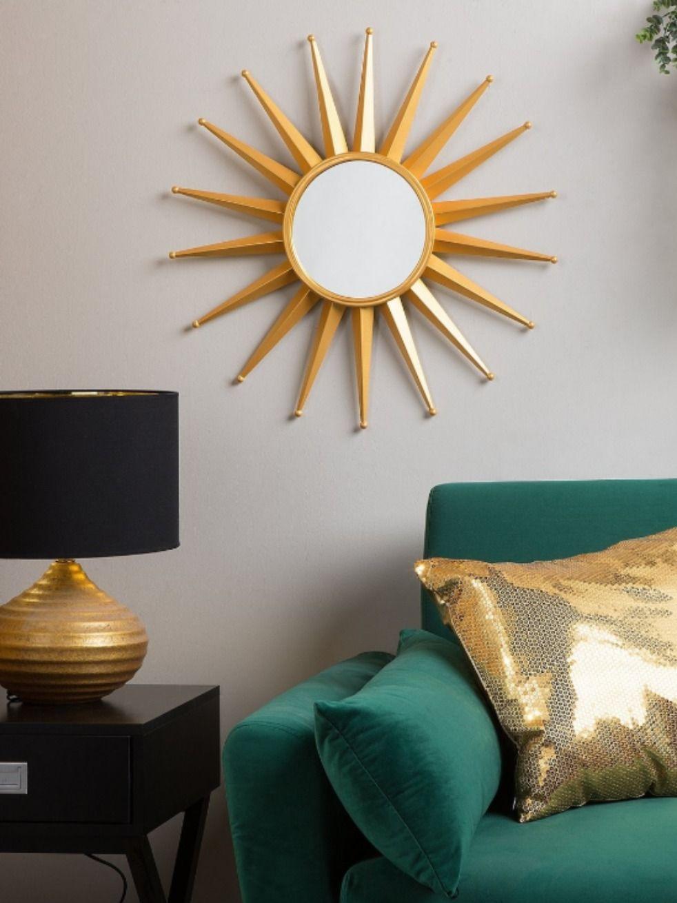Wandspiegel Gold Sonnenoptik O60 Cm Perelli Mit Bildern