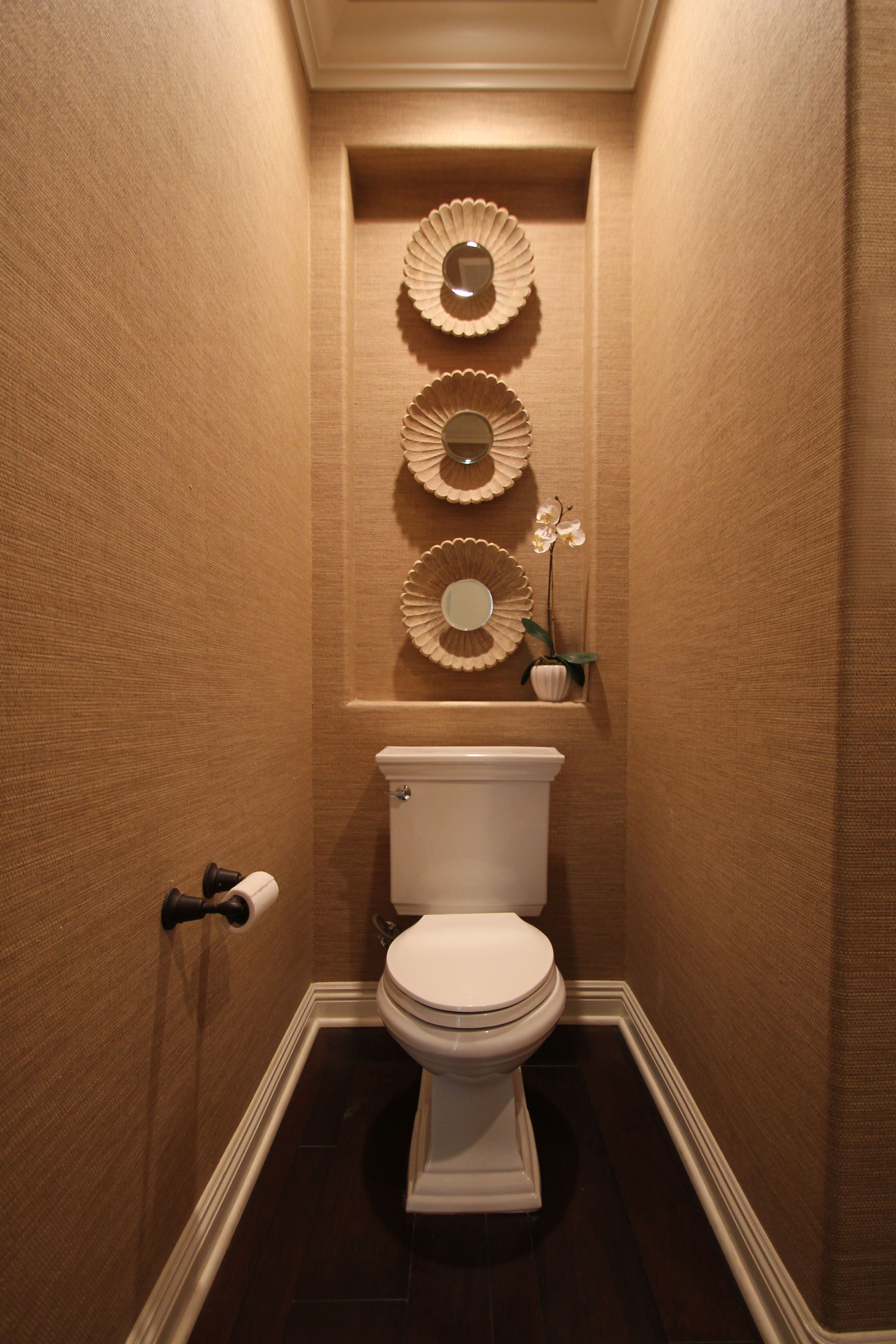 Powder Room, Toilet, Wallpaper, Mirror, Niche