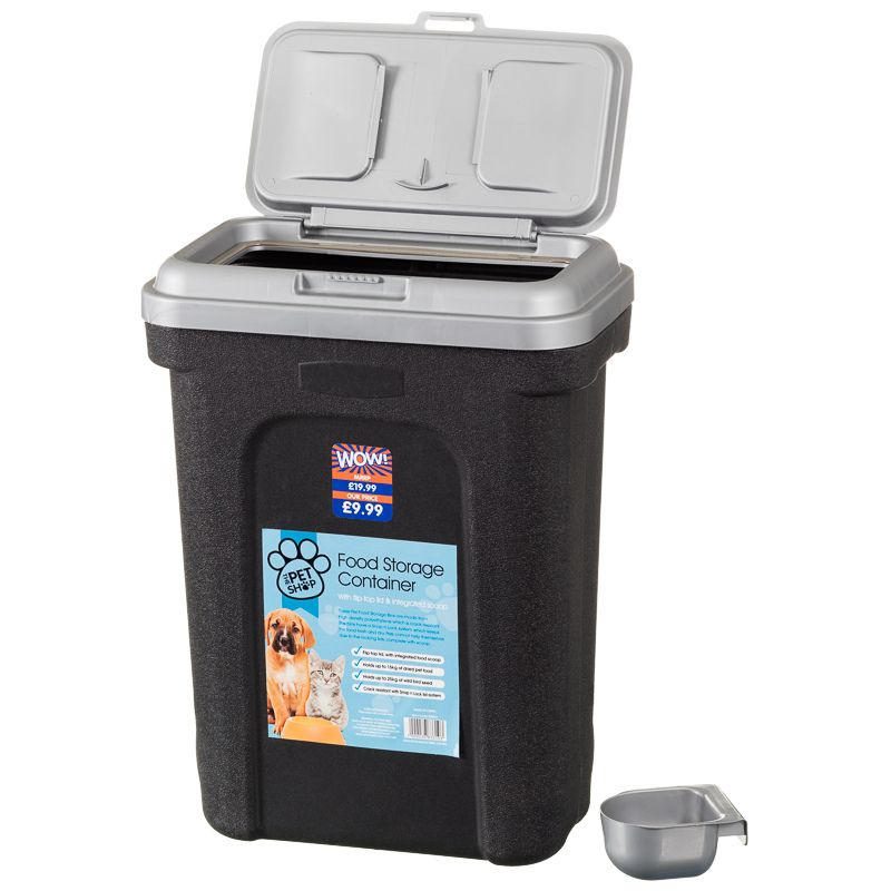 Pet Food Storage Container Black With Silver Lid Flip Top Lid