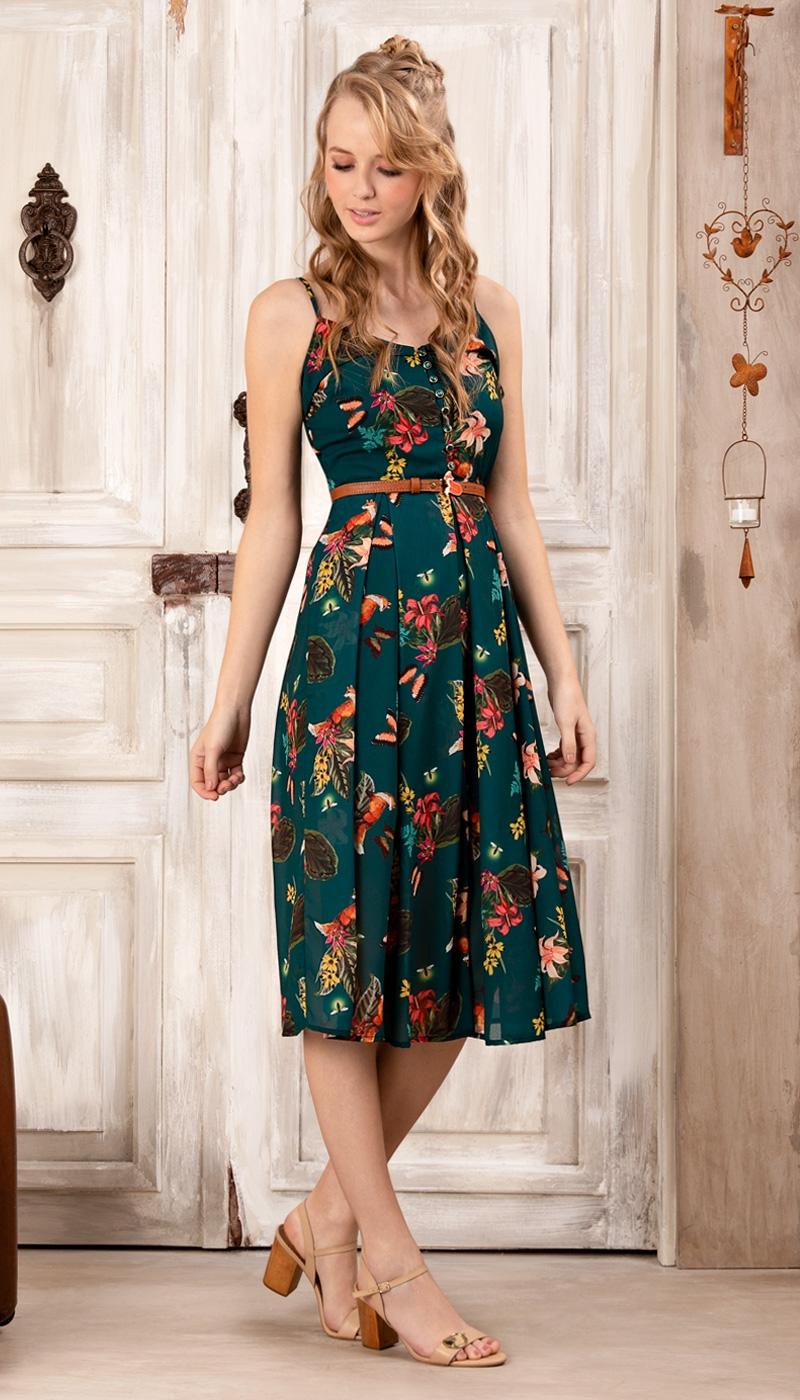 vestido midi brilha linda flor ii verde | antix | vestidos