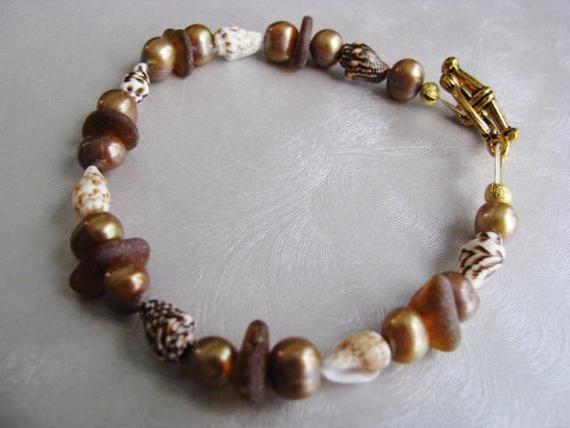 Photo of Sea Glass Bracelet – Amber Brown Seaglass – Freshwater Pearls and Shells – Beach Glass Jewelry