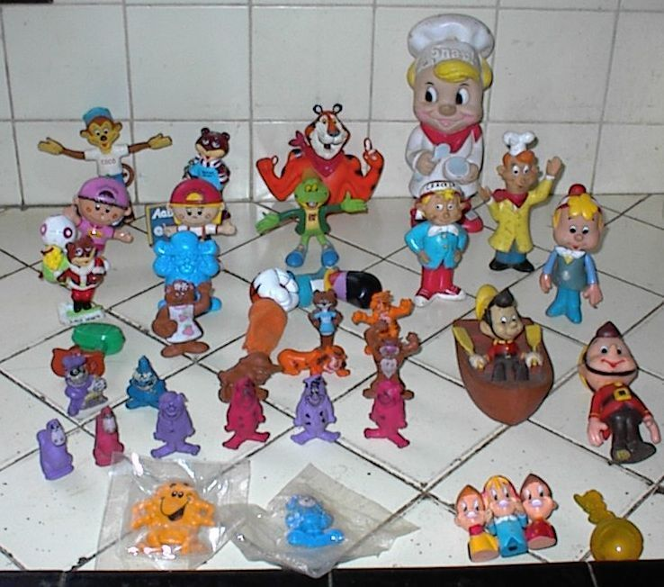 35 Different CEREAL PREMIUMS, MASCOTS, DOLLS, FIGURES