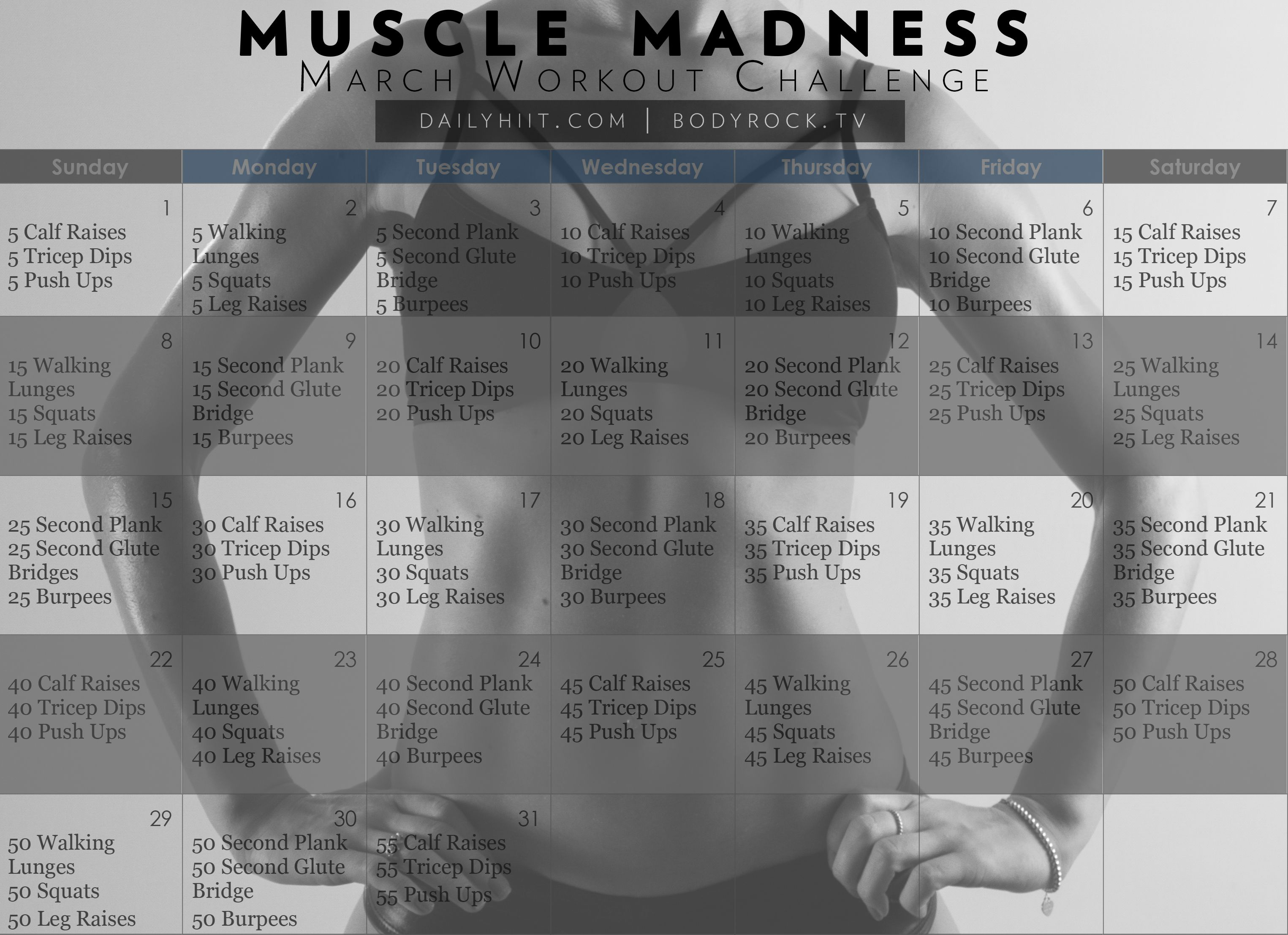 Muscle Madness March Workout Challenge Free Calendar Hiit Blog March Fitness Challenge Workout Challenge March Workout