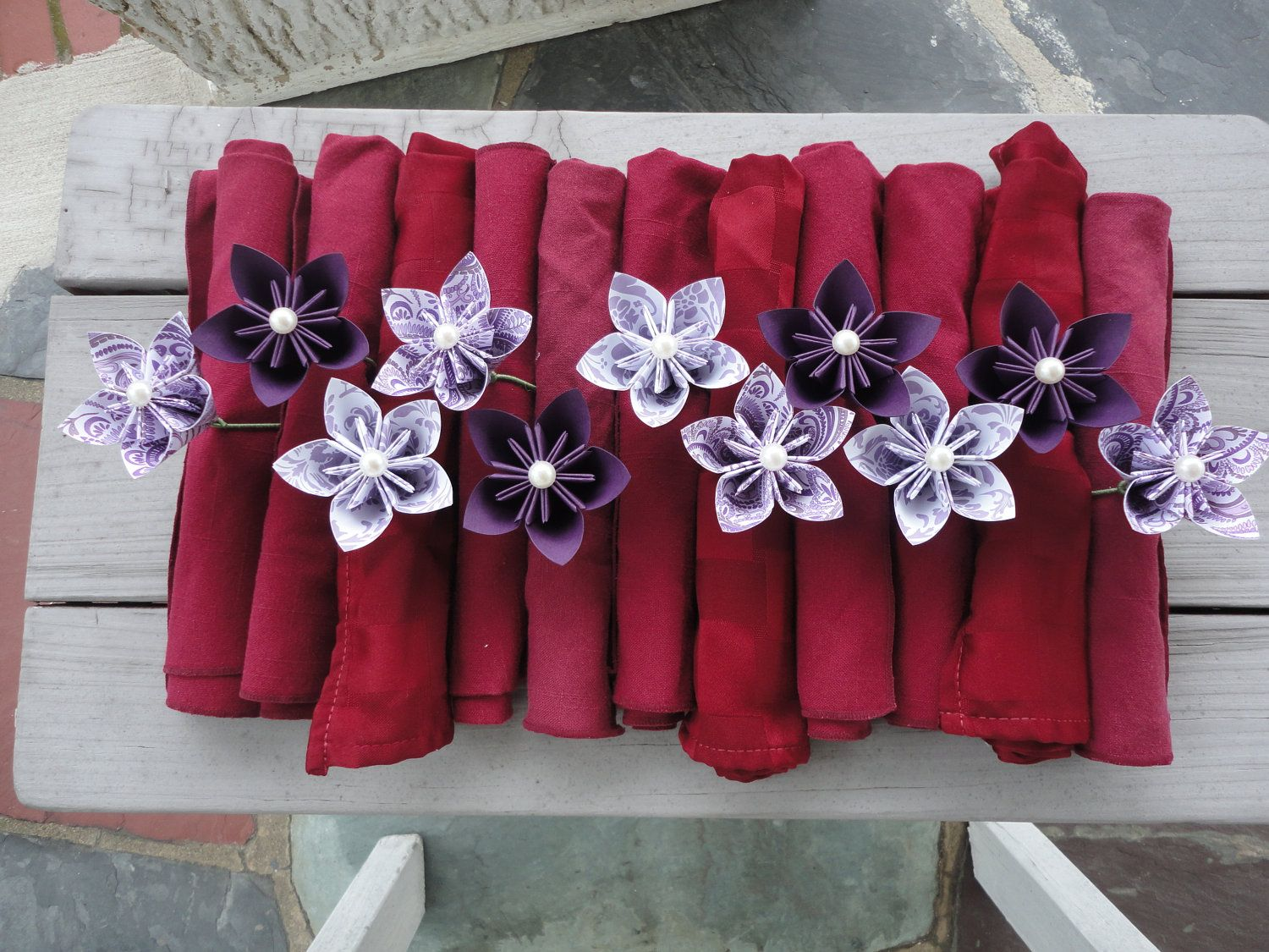 Paper flower napkin rings kusudama origami the demoret wedding paper flower napkin rings kusudama origami mightylinksfo Image collections