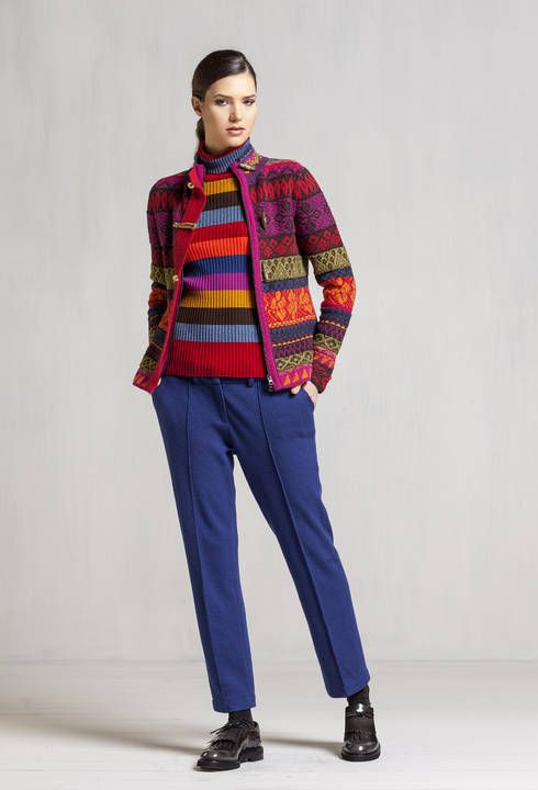 0cedb1de627 IVKO knitwear cardigan wool red all seasons zip buttons floral 72609 ...