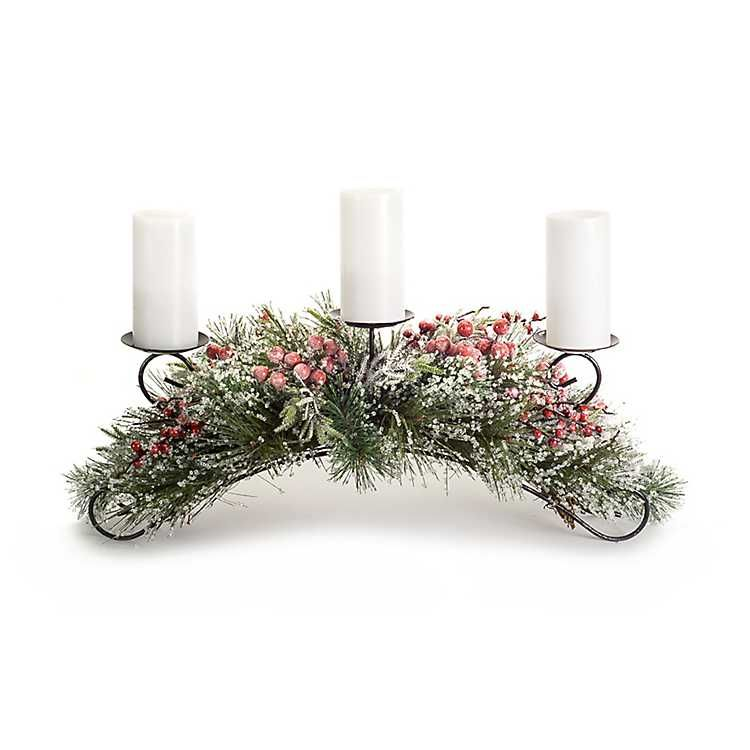 Iced Pine And Red Berry Candle Holder Centerpiece Candleholder Centerpieces Candle Holders Christmas Decor Diy