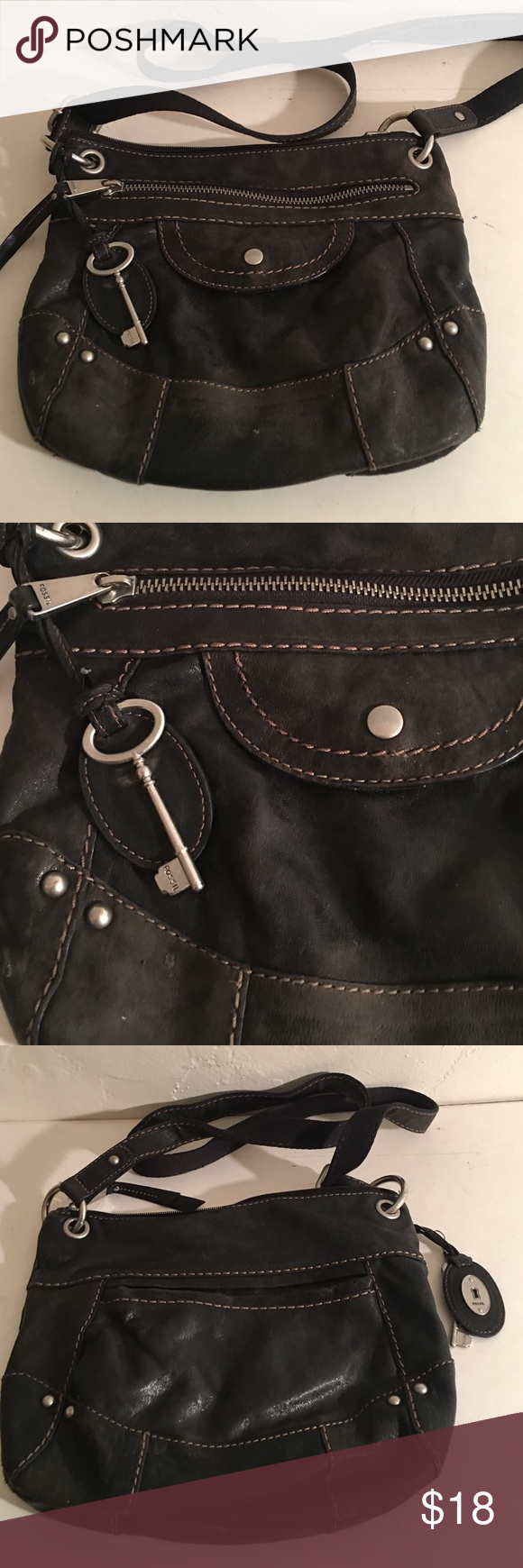 FOSSIL LEATHER CROSSBODY BAG 12 by 10 BLACK PREOWNED GOOD CONDITION FOSSIL BLACK LEATHER BAG WITH SHOULDER STRAP LOTS OF ZIPPERED COMPARTMENTS THE LOGO KEY IS THERE MEASURES 12 by 10 ALL LEATHER FOSSIL Bags Crossbody Bags