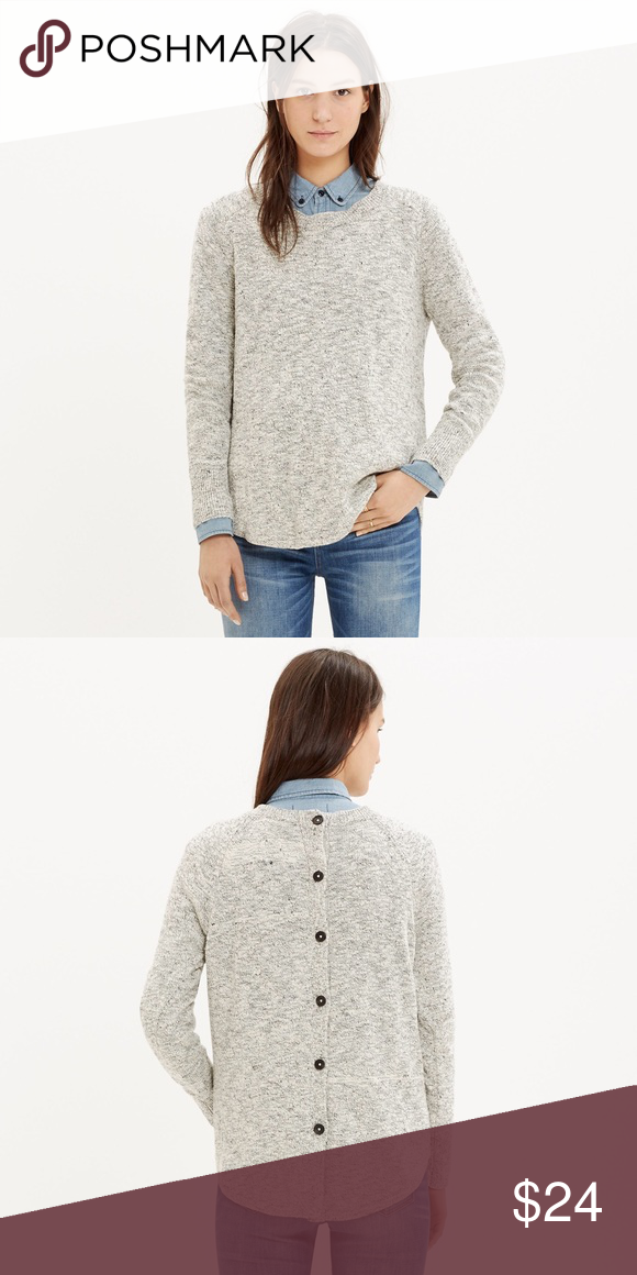 Madewell Marled Button-Back Sweater True to size. Cotton/linen. Hand wash. Curved hem and button back. Light wear under arms (small pilling). Throughout the body there is sort of micro-pilling which is really just the nature of the material. Madewell Sweaters Crew & Scoop Necks