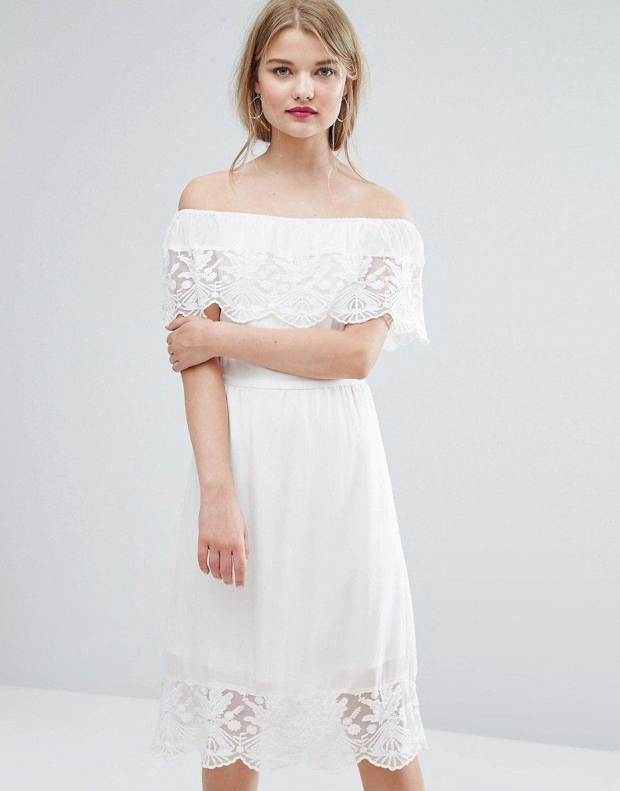 Vila - Schulterfreies Kleid aus Spitze - Weiß Jetzt bestellen unter ...