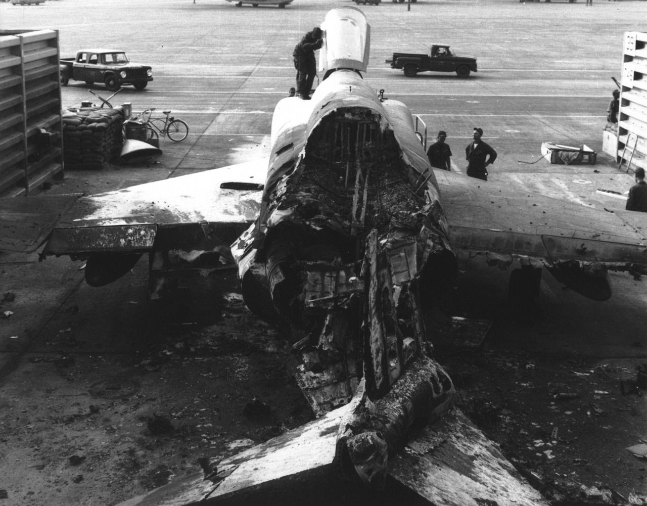 USAF RF4C Phantom wrecked during a 1968 rocket attack on
