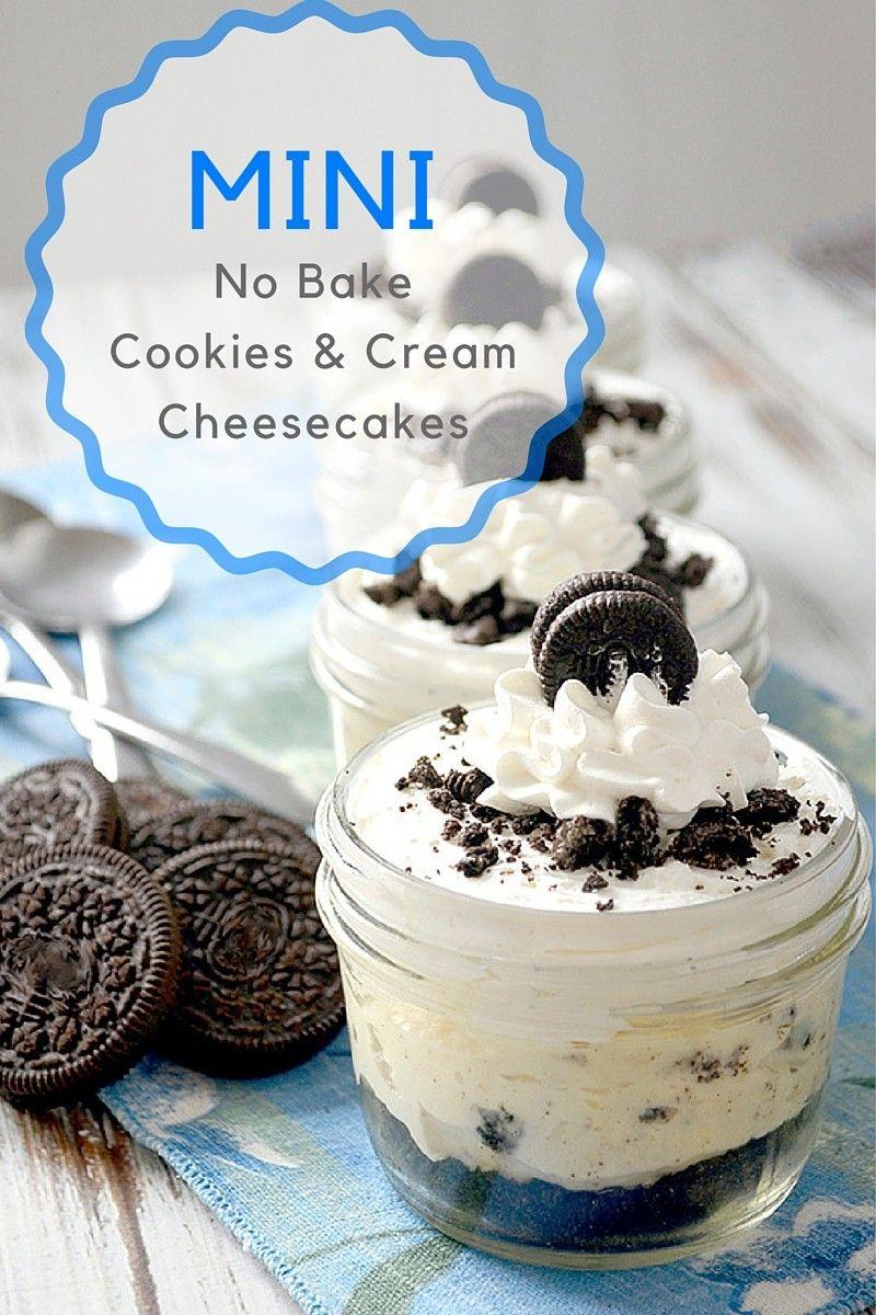 Mini No Bake Cookies And Cream Cheesecakes Pink Cake Plate Recipe Mason Jar Desserts Desserts Cookies And Cream Cheesecake