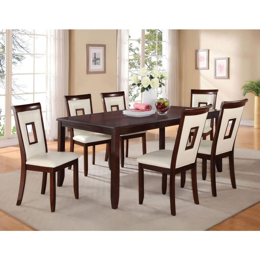 Acme Furniture Oswell Cherry Water Resistant Dining Table 71595 The Home Depot Dining Table Wooden Dining Tables Dinning Table Design