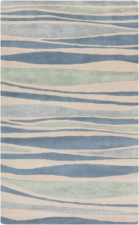 Hand Tufted Blue And Green Waves Area Rug Coastal Area Rugs Coastal Rugs Area Rugs