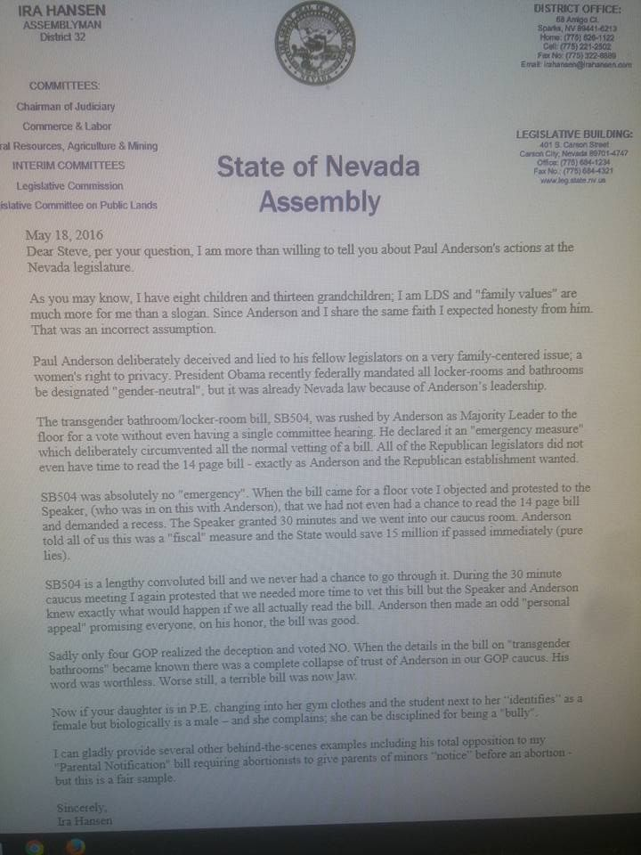 Assemblyman Hansen Issues Letter to LDS Community Urging Them Reject
