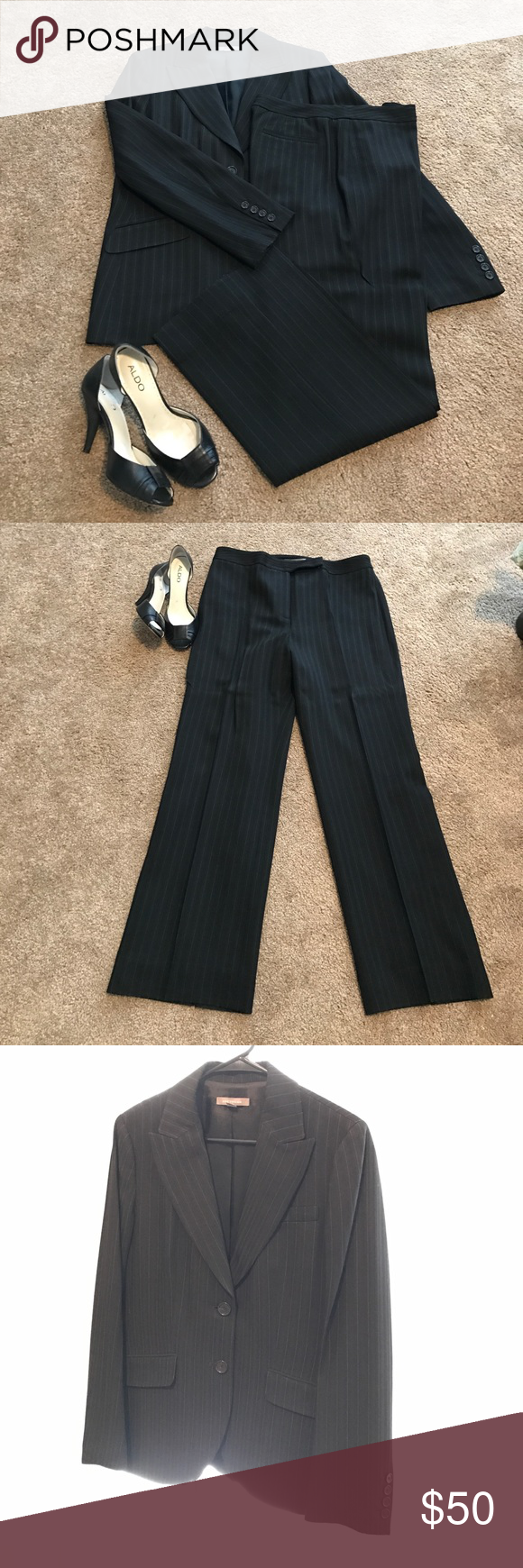 "Ann Taylor Black Pun Striped Suit (sz 10) Used fully lined black pin striped suit.  In excellent condition. Inseam 29"". Ann Taylor Other"