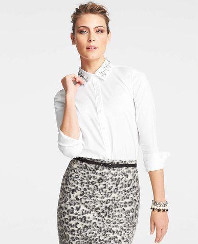 Tall Jeweled Collar Shirt Ann Taylor Shirts Collar Shirts
