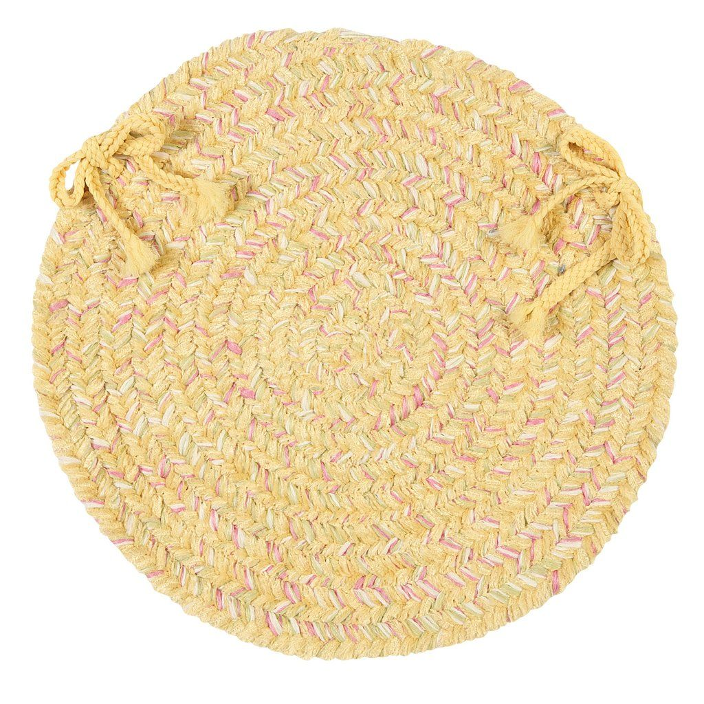 West Bay Soft Chenille Round Braided Chair Pad, WB31 Banana Yellow Tweed