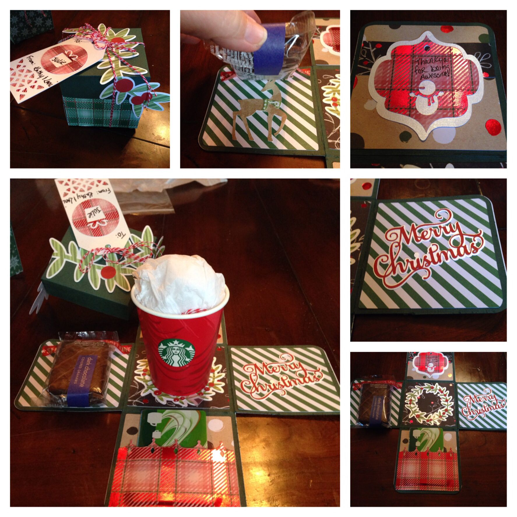 Christmas gift card exploding box