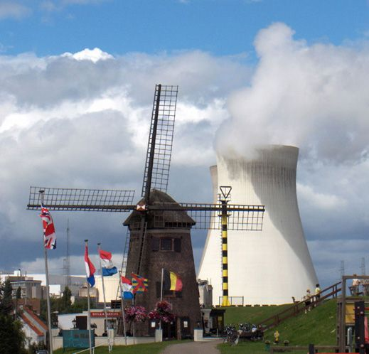 This Is A Windmill And A Nuclear Power Plant Cooling Tower