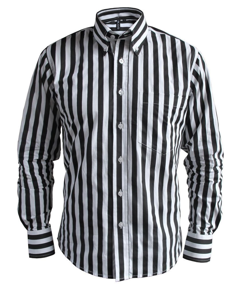 Mens candy stripe black white button down collar tailored for Mens long sleeve button down shirts