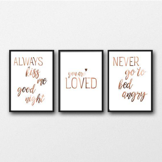 Set of 3 Prints geometric heart art Inspirational Copper Foil Quote Posters