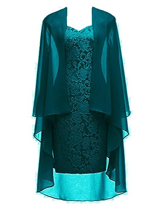 e824671469b Green Short Lace Mother of The Bride Dress with Jacket Formal Gowns at  Amazon Women s Clothing