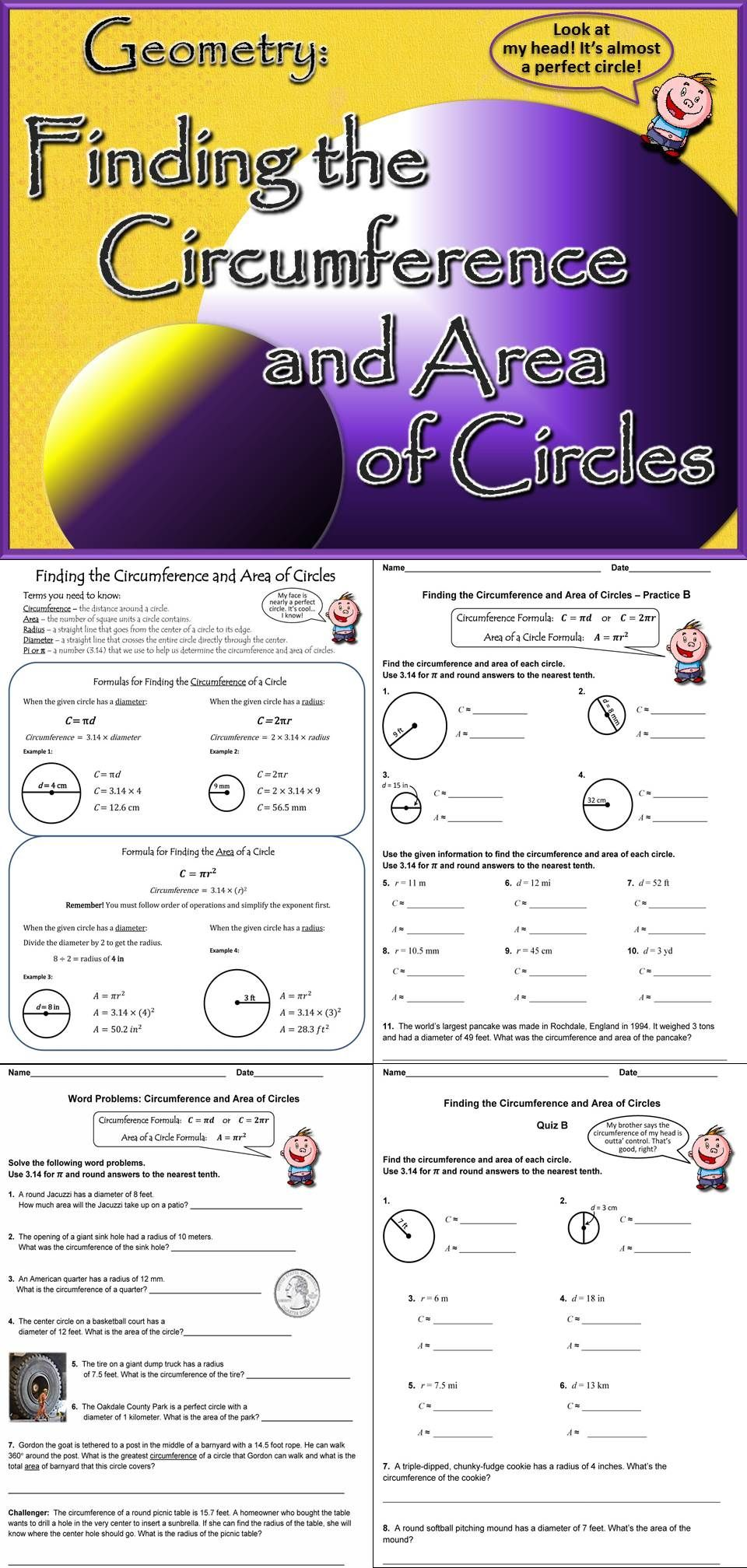 worksheet Circumference And Area Of A Circle Worksheet circumference of a circle worksheets 7th grade standard met and area circles bundled unit ccss aligned