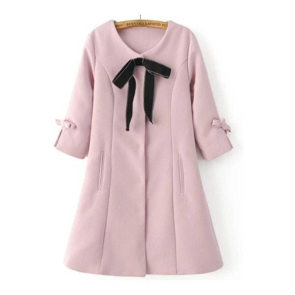 Pink Bow Embellished Hidden Button Slim Coat (88 BAM) ❤ liked on ...
