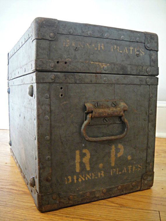 us military box - industrial coffee table r. p. crate wood and