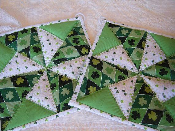 St Patricks Day Quilted Potholders - Set of 2 | Quilted potholders ... : quilt patterns for potholders - Adamdwight.com