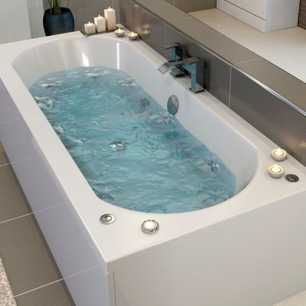 Ceramica 1800mm Double Ended Curved Bath with 22 Jet Combination and ...