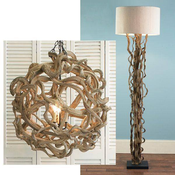De Vine Wood Ball Chandelier And Curled Vines Floor Lamp