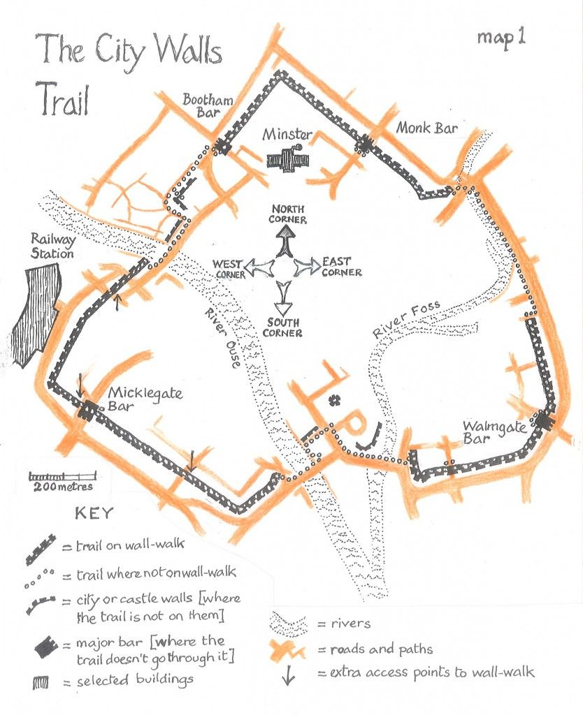 Wall Trail Overview Wall Maps York Uk Walking Map
