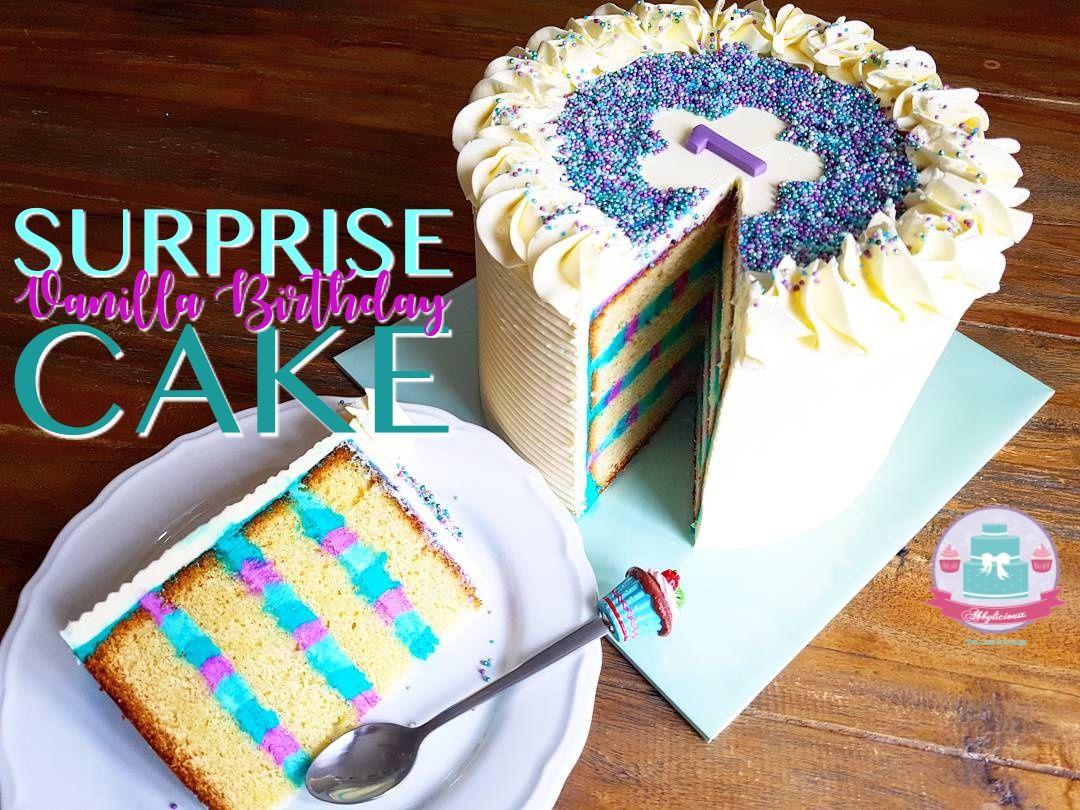 Surprise Inside Vanilla Birthday Cake Youtube Recipe Decorating