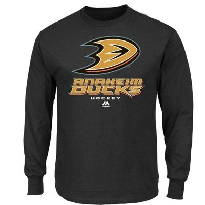 Mens Anaheim Ducks Majestic Black Critical Victory VIII Long Sleeve T-Shirt