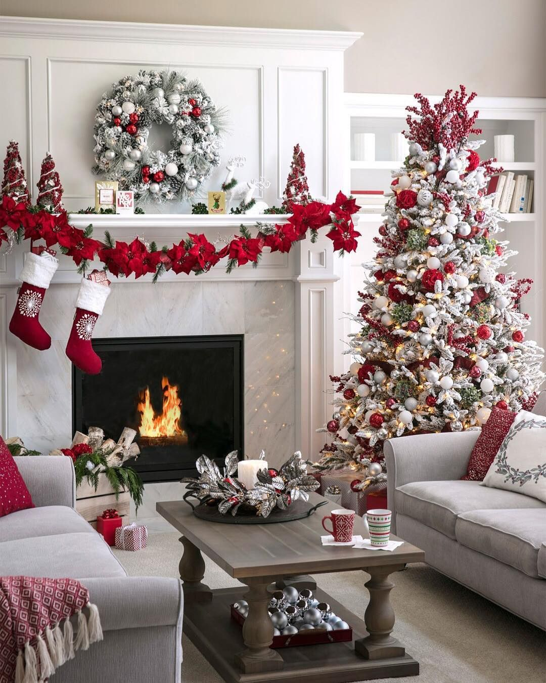 Give Your Frosted Tree A Splash Of Color With Red Silver And Burgundy Ornaments Christmas Decorations Apartment Christmas Apartment Christmas Home