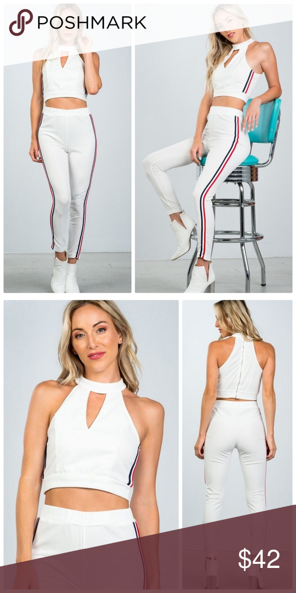 152aae364beea6 White Sleeveless Crop Top Pants Set crop top and matching pants with side  contrast stripe Top: Cropped length, sleeveless, front keyhole, high  neckline, ...