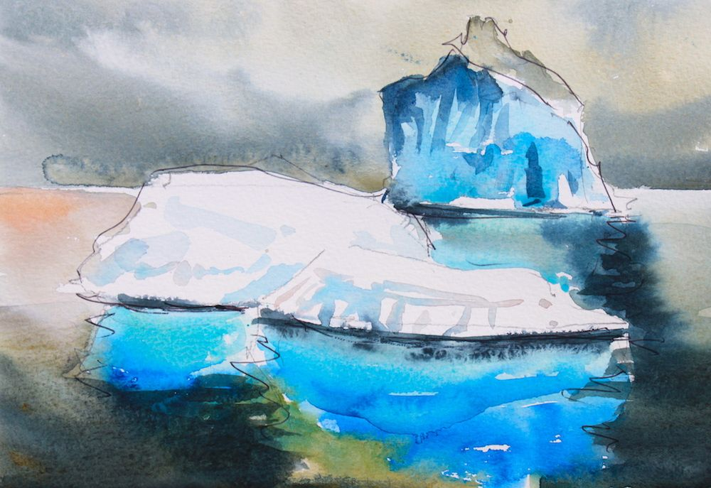 Watercolour Sketch Of Melting Icebergs On Antarctica With Images