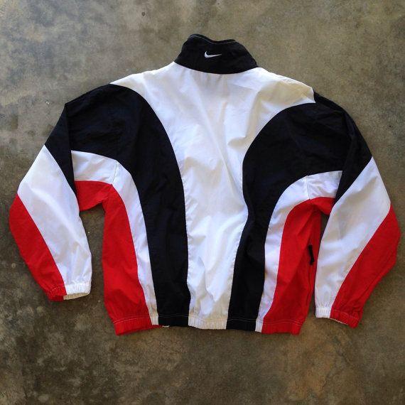Vintage 90s Nike Red White Black Windbreaker Large by