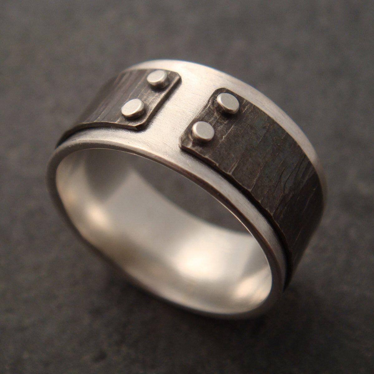 Mens Ring Silver Titanium Mind The Gap Mens Wedding Band
