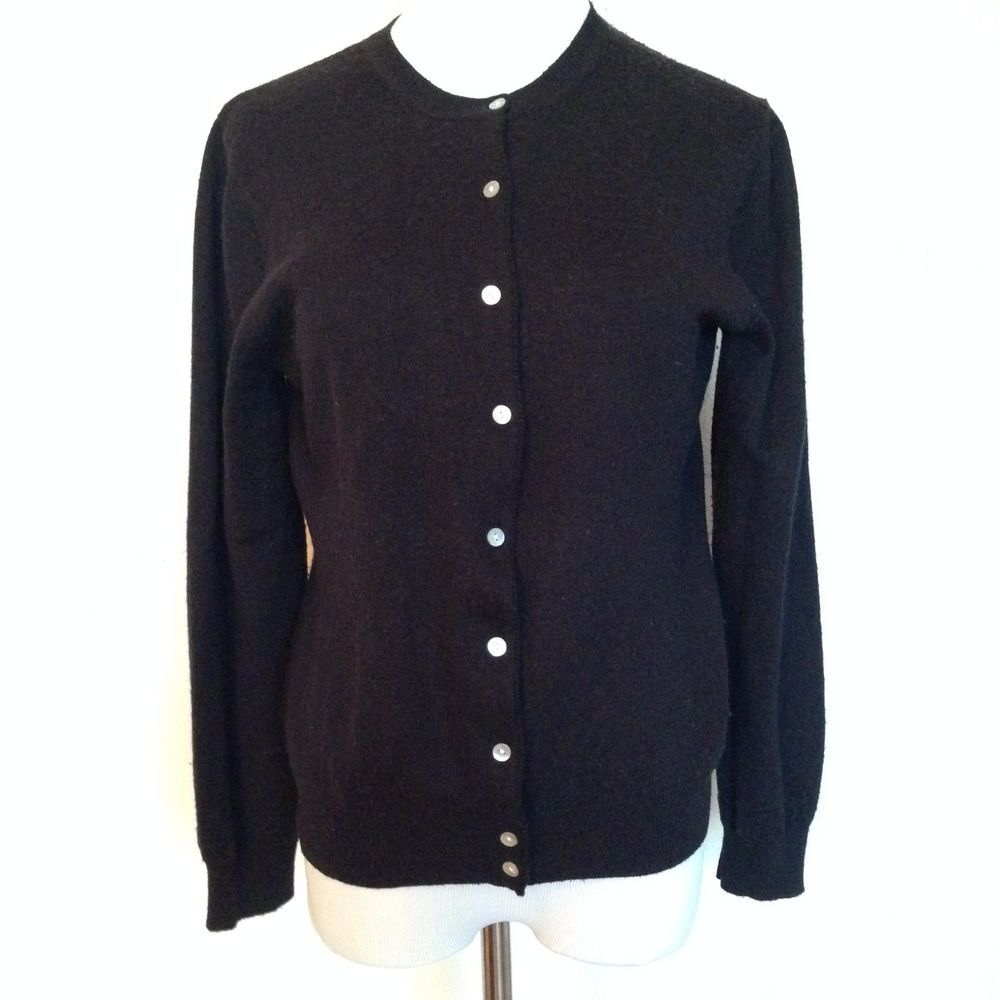 Steve & Barry's Black Cardigan Sweater Wool Blend Mother of Pearl ...