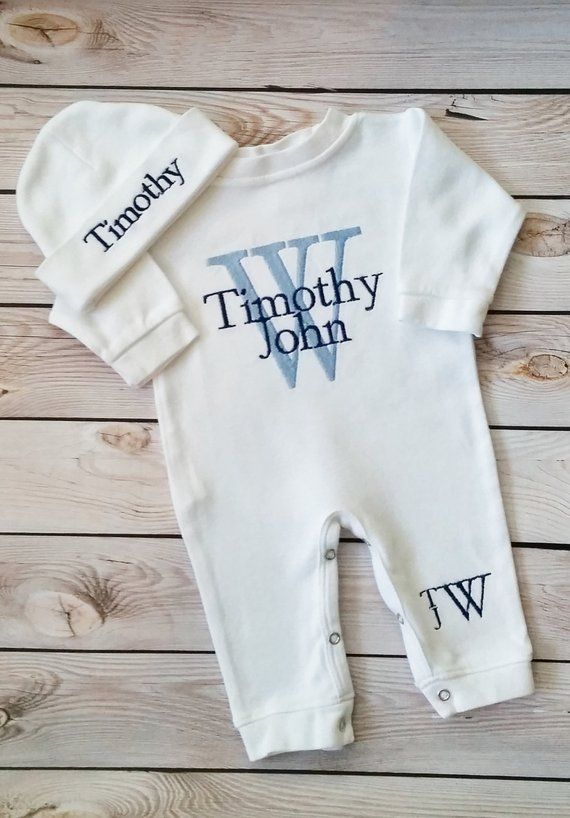 b247e82121ae1 Newborn Boy Outfit Baby Boy Coming Home Outfit Monogrammed Baby Boy  Personalized Baby Gift Embroider