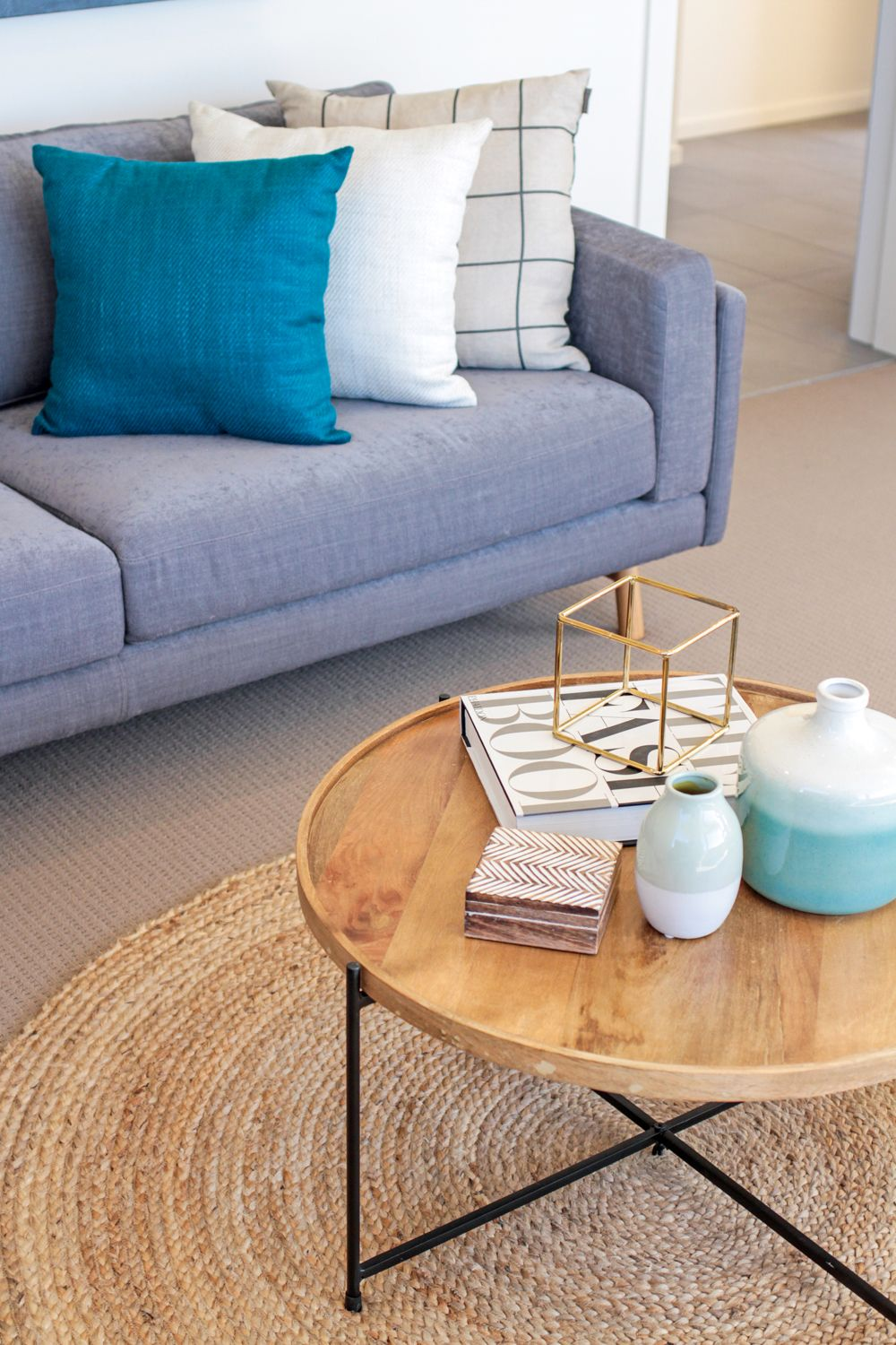 Coffee Table Styling Grey Sofa Scatter Cushions Round Jute Rug