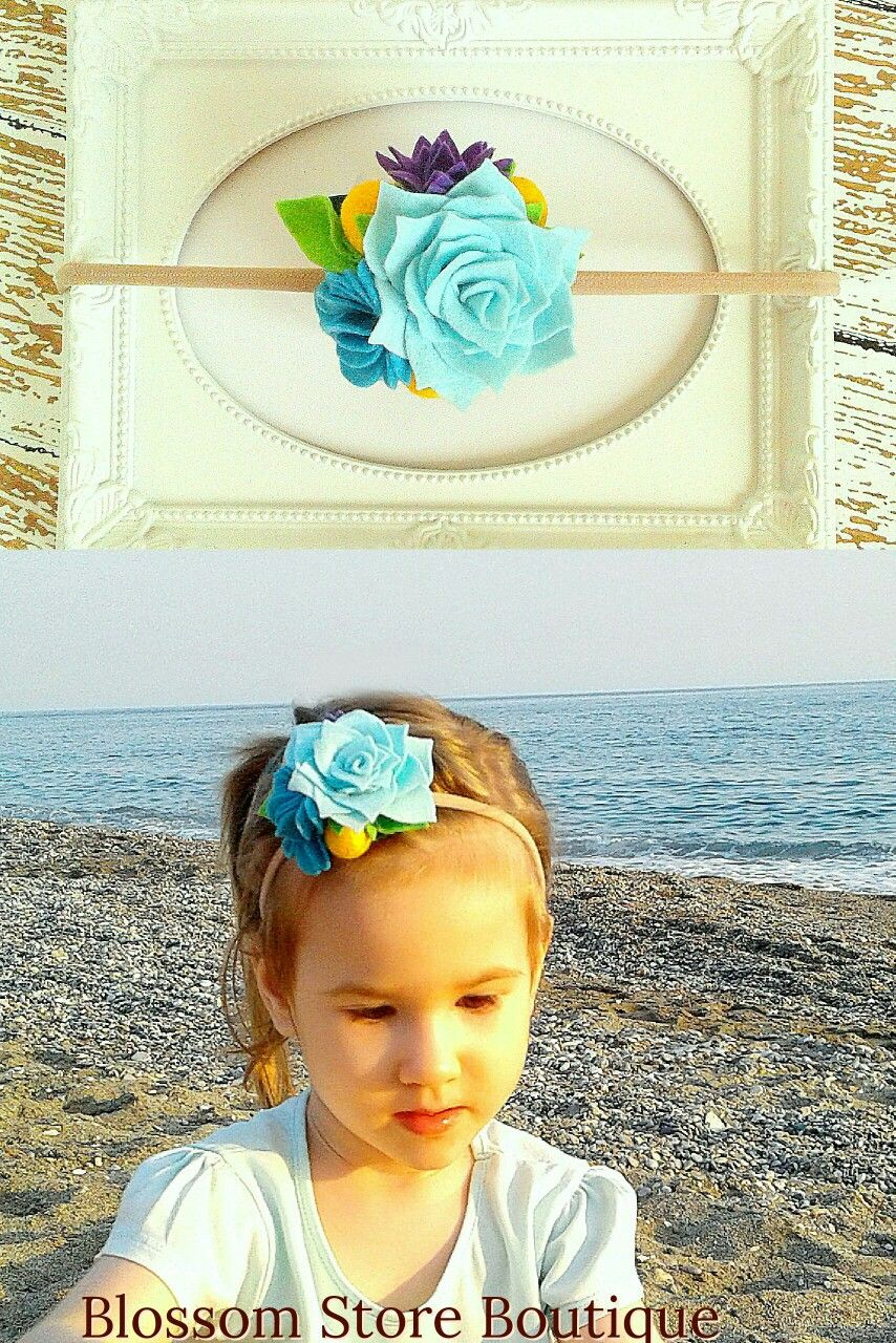 Baby felt flower headband nylon Blue purple flowers girl crown Flower girl Toddler bithday crown New baby girl gift ide Succulent headpiece #feltflowerheadbands
