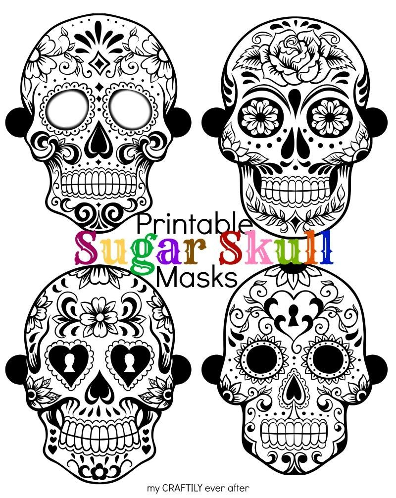 Printable Day of the Dead Sugar Skull Masks for Halloween ...