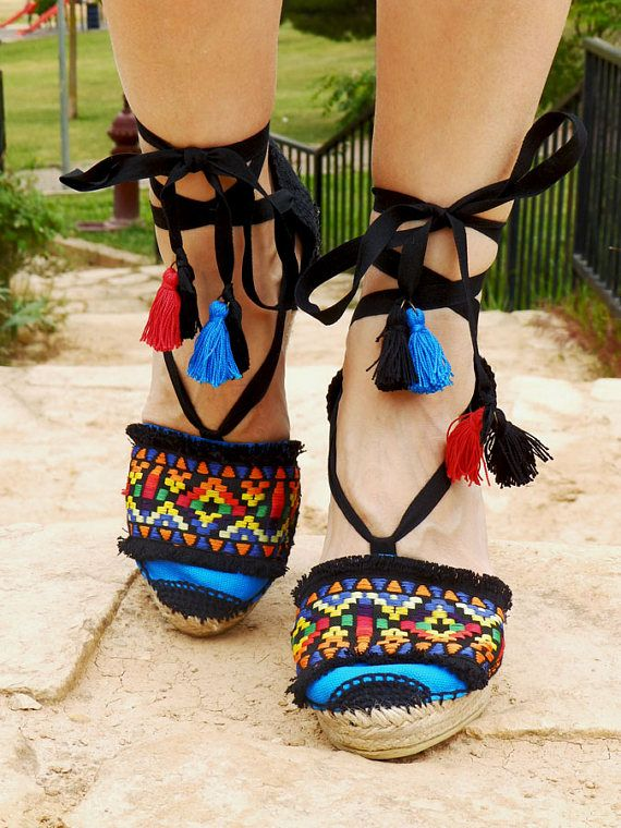 5ef81ebedaa Espadrilles Hight Wedge with ethnic embroidery. Alpargatas made in ...