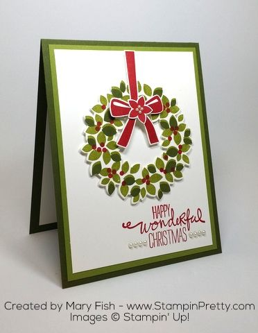 Stampin' Up! Wondrous Wreath Christmas Holiday Card Ideas by Mary Fish Dies